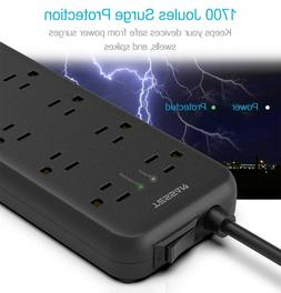 TESSAN Power Strip with 8 Outlets 3 USB Charging Ports and 1