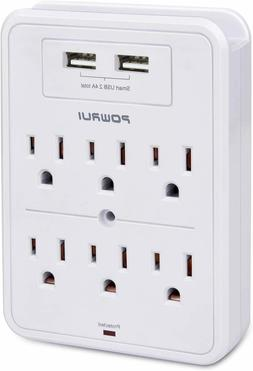 POWRUI Surge Protector, USB Wall Charger with 2 USB Charging