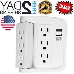 ECOPlugs Rotate Adapter with USB Ports, 6 Outlets  Wall Powe