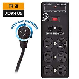 GOWOS Surge Protector - 15 Feet, 20 Pack - Black - 6 Outlet