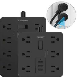 Surge Protector Flat Plug Power Strip with 9.8ft Extension C