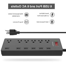 POWSAV Surge Protector Power Strip 6-Outlet 6 USB Extension