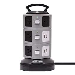 Surge Protector Power Strip Tower - SUPERDANNY 3000W 13A wit