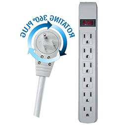 GOWOS Surge Protector - 10 Feet, Gray - 6 Outlet Flat Rotati