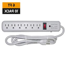 GOWOS Surge Protector - 6 Feet, 10 Pack - Gray - 6 Outlet 3