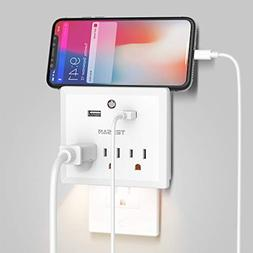 USB Multi Outlet Plug Extender Night Light, Wall Tap Charger