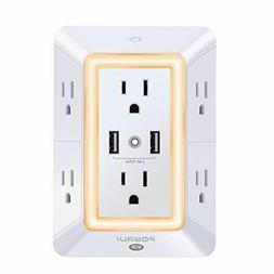 USB Wall Charger, Surge Protector, POWRUI 6-Outlet Extender