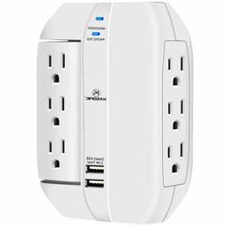 6 Outlet Surge Protector With 2 USB Charger Ports Wall Outle